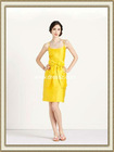 Sexy Spaghetti Straps A-line Shiny Short Yellow Bridesmaid Dress On Sale With Bow