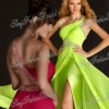 One-shoulder with beaded A-line Anke length side slit ruffle natural waist Chiffon girls prom dresses made in china dress 2012