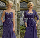 Asymmetric Strapless Embroidery Beaded Ruffle Bodice Jacket Included Purple Mother of The Bride Dresses