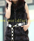 BY-HN-G031 Fashion Waistcoat for Women, Coffee fox fur