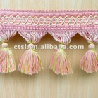 Handmade Pink Woven And Tassel For Decoration Curtain Accessory