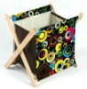 Abstract small hamper baskets, cloth lined baskets