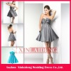 CTD003 chic silver grey taffeta sweetheart bow cocktail dresses short
