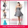 CTD003 chic silver grey taffeta sweetheart bow cocktail dresses short