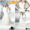 Hot Coming Sexy Sweetheart Shearth Ruffle Appliqued Organza Peacock Wedding Gowns