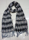 fringe white and black geometric bubble polyester pompon scarf