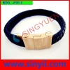 JP0012 Fashion stainless steel bracelet with leather