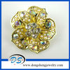 Vintage Gold Tone With AB Crystal Flower Brooch Pin