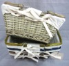 folding shopping basket from willow with cotton lining SWD-10237