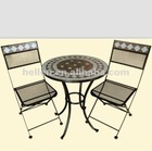 2013 new design round table and chairs bistro set, wrought iron garden furniture modern tiles mosaic top outodor patio furnit