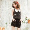 BYR0727sleeveless with lapel belt 2012 Summer short jumpsuit (black)