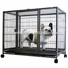 Metal wheels portable dog cage