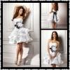 Lovely Mini Shirt White Satin 2012 New Arrival Short Black Sash Wedding Dresses MS-109