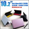 10.2 inch netbook Intel Atom D425 1.8G Memory 2GB HDD 320GB mini laptop notebook umpc epc laptops S30