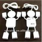 Port Mini USB 2.0 HUB with 4 ports - White Man Shape USB HUB