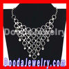 Gold Chain Crystal Circles Necklace, Choker Collar Bib Necklace