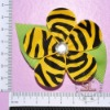 Zebra Ribbon Petaled Flower Bows Clips