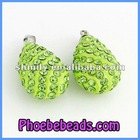 Wholesale Grass Green Rain Drop Shamballa Crystal Ball Pendant CNP-Z06