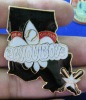 custom engraved metal lapel pin badge with epoxy