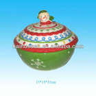 15cm christmas snowman handle ceramic candy pot