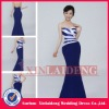EVD081 2012 A-line satin sweetheart navy blue and white evening gown