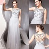 Sexy Silver Sequins Sleeveless Deep V-neck Formal Long Prom Dress