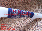 Acrylic/spandex knitted legwarmers with customize nylon jacquard