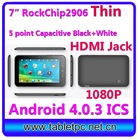 "cheapest capacitive touch screen tablet pc RK2906 4.0.3 ICS512M 4G 7"" (760)"