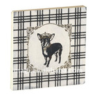 Black and White Dog Square Wood Fridge Magnet