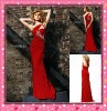Astergarden 2011 Imdeiately Delivery Factory Sell Red One Shoulder Chiffon Evening Dress 3702