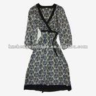 Peacock Patterns Vneck Adjust Belt long sleeve dress