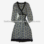 Peacock Patterns Vneck Adjust Belt long sleeve dress