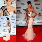 RED027 Custom Made! 2012 New Style One Shoulder Applique Sheath red carpet dresses celebrity Dresses