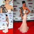 RED027 Custom Made! 2012 New Style One Shoulder Applique Sheath red carpet dresses celebrity Dresses