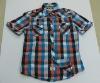 men short sleeve plaid shirt 218#, check shirt, lattice shirt, cotton shirt
