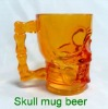 Acrylic clear /golden yellow /human golden yellow skull shaped mug beer Halloween