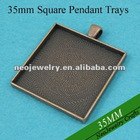 35MM Antique Copper Square Blank Tray Pendants, Blank Bazel Settings, Blank Pendant Settings For Cabochons or Stickers