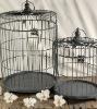 "Set of 2 Grey Metal Bird Cages 19"" & 13"" with hangers"