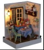 2012 miniature diy wooden doll house toy with light,educational toy for kids