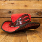 Red NATCHEZ suede cowboy hat with snake skin inlays and