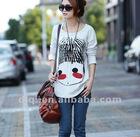2013 korean style fashion o-neck long sleeve 100%cotton t shirt printing machine