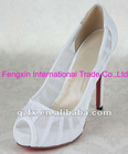 White Chiffon Bridal Shoes Ladies Pump Shoes