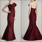 Original design floor length strapless low back bodice dack red fishtail evening dress