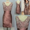 Shiny Satin Cocktail Dress with Drop Neck Sequines#R9442