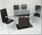 tempered glass dining table DT710 and PU leather dining chair