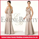 High-fashion satin floor-length strap champagne colored bridesmaid dresses