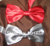 red and silver polyester mens bow tie