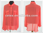 2012 popular ladies polyester crepe long blouse, style no. 220336