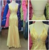2011 Well Designed A-line Halter Sleeveless Beaded Yellow Sexy Ladies Prom Dress