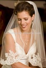 Simple Re-embroidered Lace Attached to a Single Tier Thin Satin Cord Edge with Front Lace Edge Short Bridal Veil
